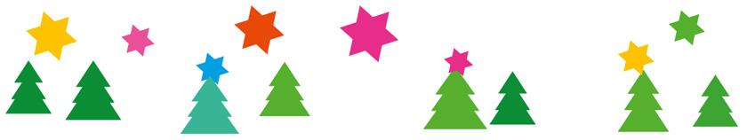 weihnachtsbäume und bunte sterne