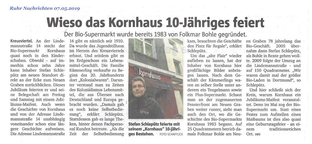 Zeitungsartikel 10 Jahre Kornhaus